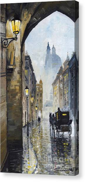 Oil On Canvas Print - Prague Old Street 01 by Yuriy Shevchuk
