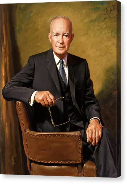 Presidential Portrait Canvas Print - President Dwight Eisenhower Painting by War Is Hell Store