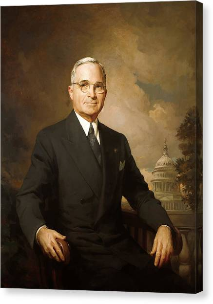 Harry Truman Canvas Print - President Harry Truman by War Is Hell Store