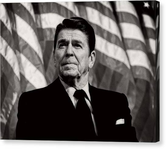 Ronald Reagan Canvas Print - President Ronald Reagan Speaking - 1982 by Mountain Dreams
