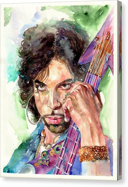 United Kingdom Canvas Print - Prince Rogers Nelson Portrait by Suzann's Art