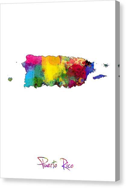 Puerto Canvas Print - Puerto Rico Watercolor Map by Michael Tompsett