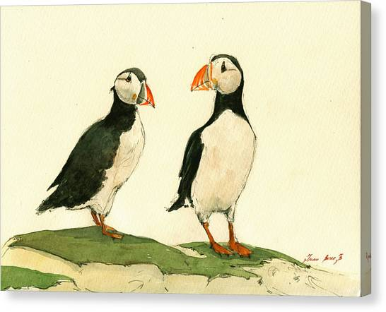 Puffins Canvas Print - Puffins  by Juan  Bosco