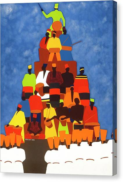 Canvas Print - Pyramid Of African Drummers by Synthia SAINT JAMES