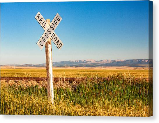 Mountain West Canvas Print - Railroad Crossing by Todd Klassy