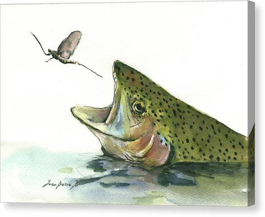 Fly Fishing Canvas Print - Rainbow Trout by Juan Bosco