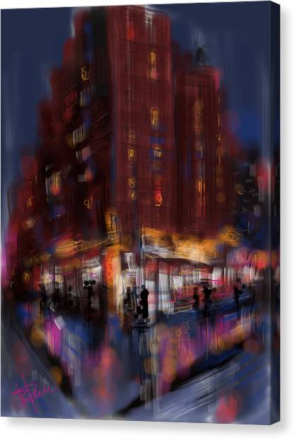 Rainy City Canvas Print by Russell Pierce