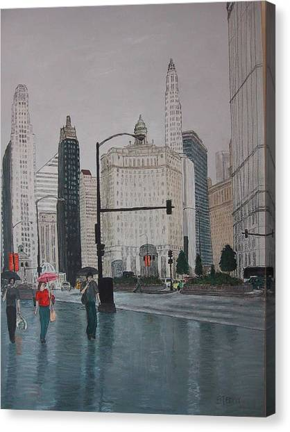 Rainy Day Chicago Canvas Print by Jacob Stempky