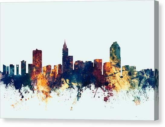 North Carolina Canvas Print - Raleigh North Carolina Skyline by Michael Tompsett