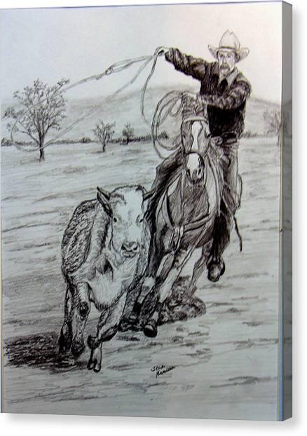 Ranch Work Canvas Print by Stan Hamilton