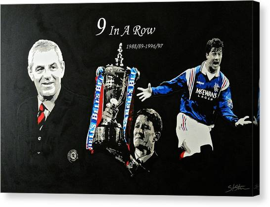Uefa Champions Canvas Print - Rangers 9 In A Row  by Scott Strachan