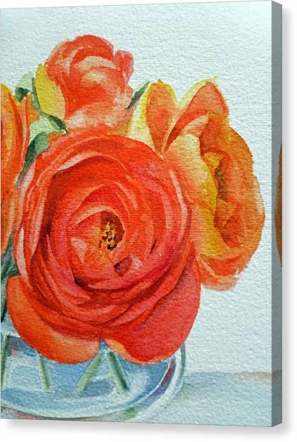 Red Roses Canvas Print - Ranunculus by Irina Sztukowski