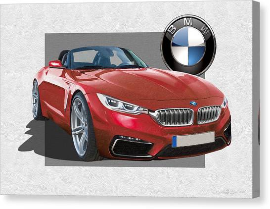 Automobiles Canvas Print - Red 2018 B M W  Z 5 With 3 D Badge  by Serge Averbukh