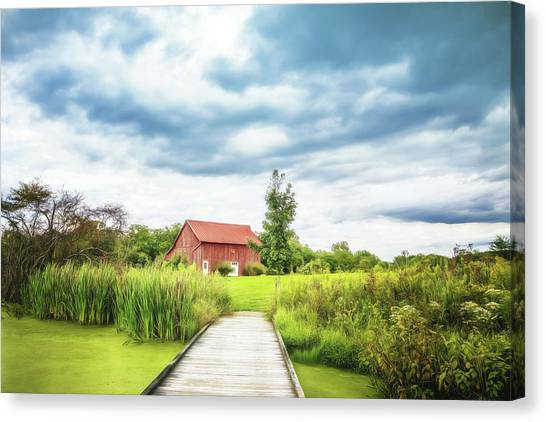 Swamps Canvas Print - Red Barn by Tom Mc Nemar