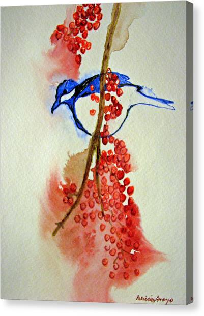 Red Berry Blue Bird Canvas Print by Patricia Arroyo