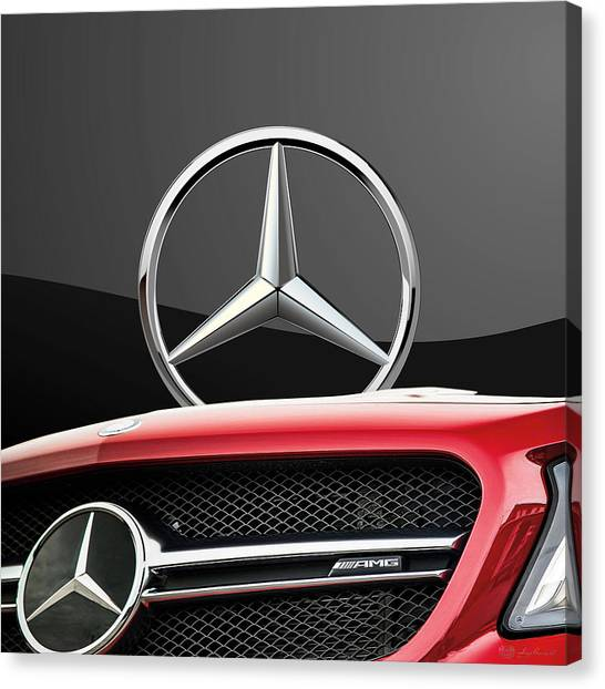 Grills Canvas Print - Red Mercedes - Front Grill Ornament And 3 D Badge On Black by Serge Averbukh