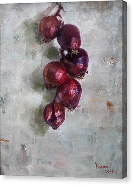Onions Canvas Print - Red Onions by Ylli Haruni