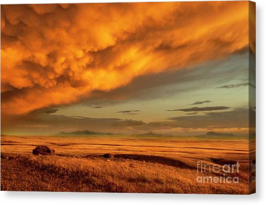 Prairie Sunsets Canvas Print - Red Rock Coulee Sunset 1 by Bob Christopher