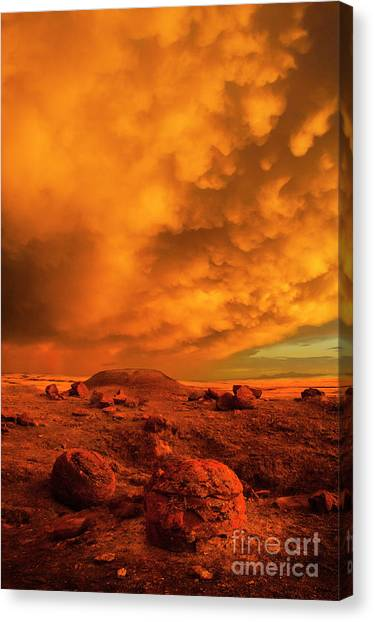 Prairie Sunsets Canvas Print - Red Rock Coulee Sunset 2 by Bob Christopher