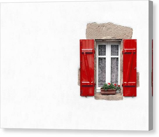 Window Canvas Print - Red Shuttered Window On White by Jane Rix