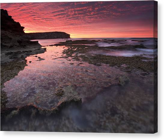 Pennington Bay Canvas Print - Red Sky At Morning by Mike  Dawson