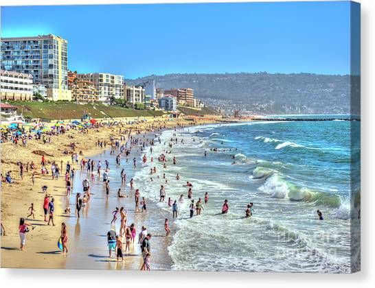 Rollerblading Canvas Print - Redondo Beach Torrence Beach by David Zanzinger