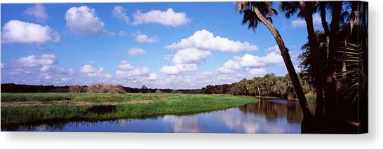 Florida State Canvas Print - Reflection Of Clouds In A River, Myakka by Panoramic Images