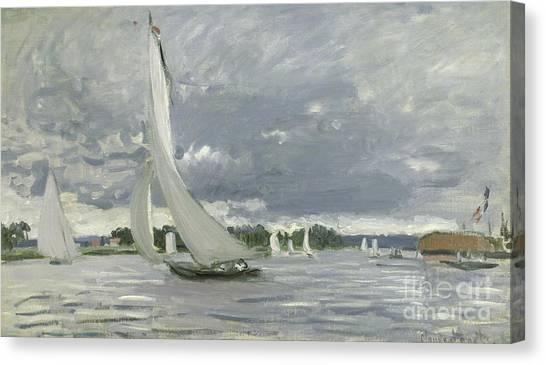 Port Canvas Print - Regatta At Argenteuil by Claude Monet