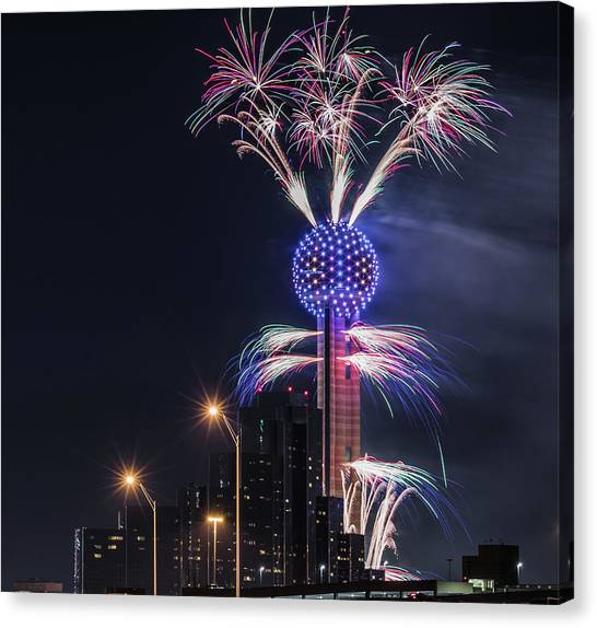 Reunion Tower Fireworks Canvas Print