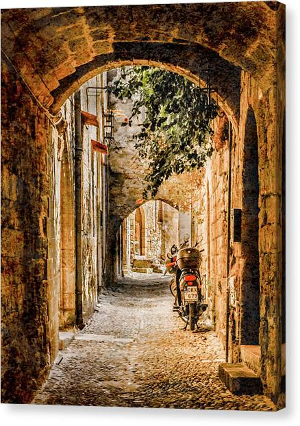 Canvas Print featuring the photograph Rhodes, Greece - Rhodian Street by Mark Forte