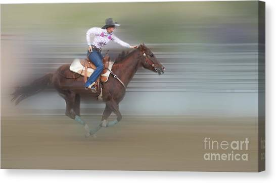 Barrel Racing Canvas Print - Ride Like The Wind by Bob Christopher