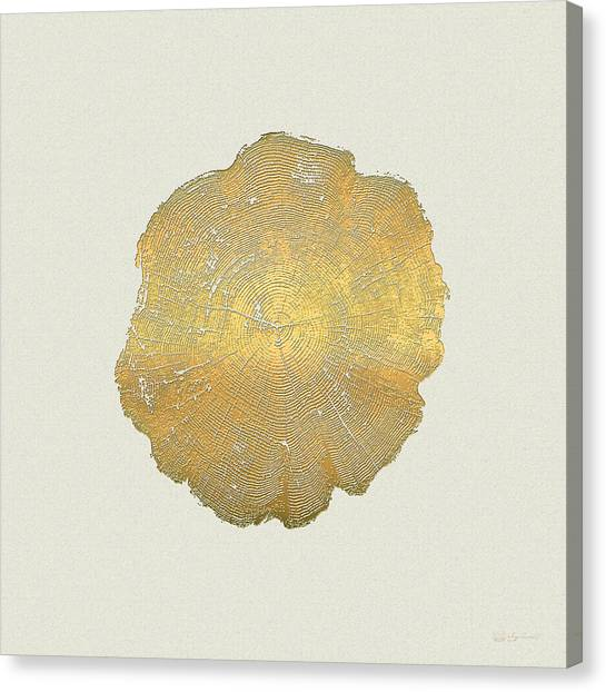 Pop Art Canvas Print - Rings Of A Tree Trunk Cross-section In Gold On Linen  by Serge Averbukh