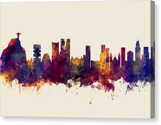 Rio De Janeiro Skyline Canvas Print - Rio De Janeiro Skyline Brazil by Michael Tompsett