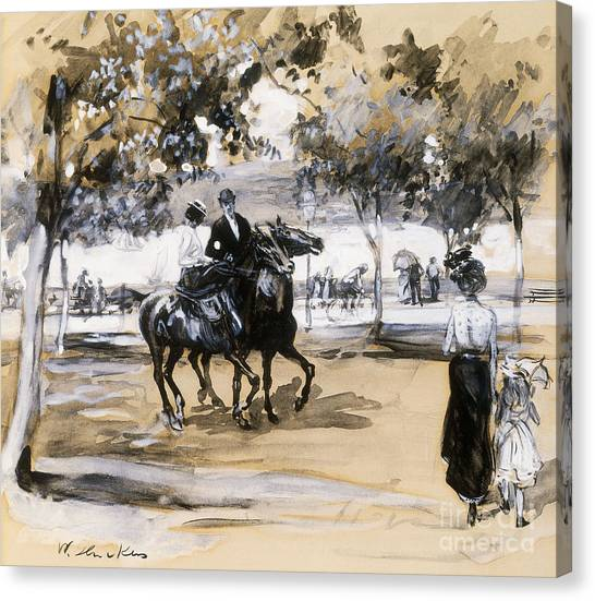Pleasure Horse Canvas Print - Riverside Drive by William James Glackens