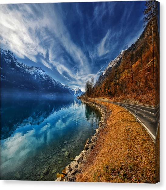Fog Mist Canvas Print - Road To No Regret by Philippe Sainte-Laudy