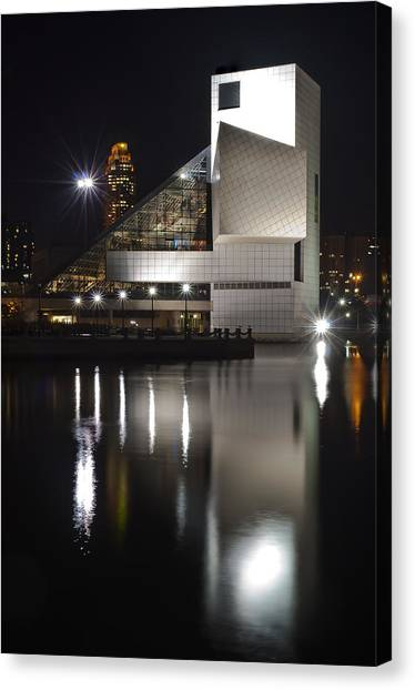 Rock And Roll Hall Of Fame At Night Canvas Print