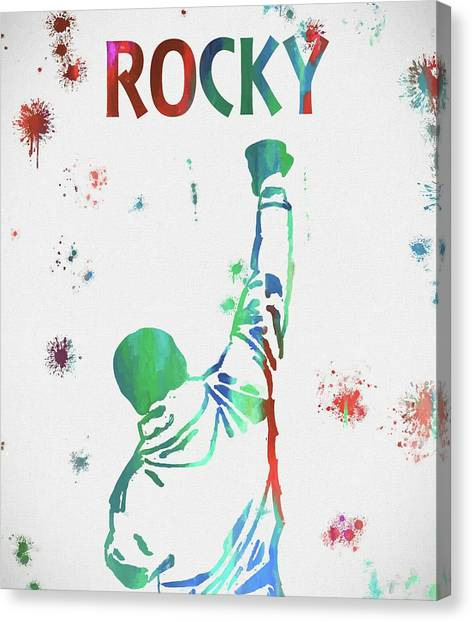 Sylvester Stallone Canvas Print - Rocky Balboa Movie Paint Splatter by Dan Sproul