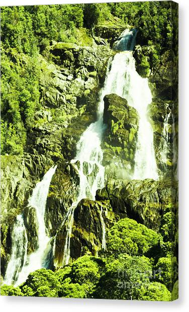 No People Canvas Print - Rocky Mountain Waterfall by Jorgo Photography - Wall Art Gallery