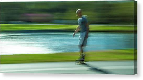 Rollerblading Canvas Print - Rollerblading In Forest Park by Garry McMichael