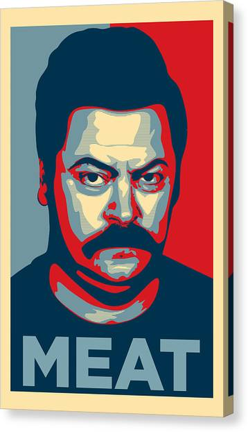 Eggs And Bacon Canvas Print - Ron Swanson by Taylan Soyturk