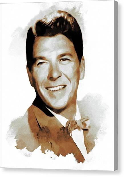 Ronald Reagan Canvas Print - Ronald Reagan, Actor, President by Mary Bassett