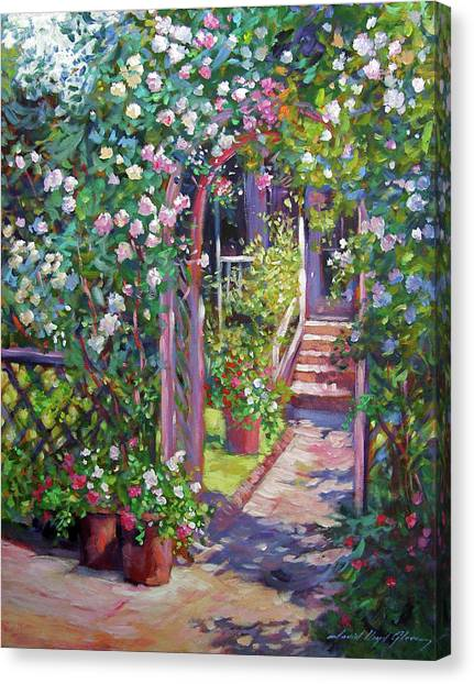 Arbor Canvas Print - Rose Cottage Gate by David Lloyd Glover