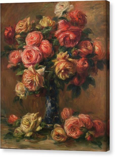 Roses In A Vase Canvas Print by Pierre Auguste Renoir