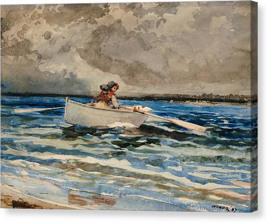 Low Tide Canvas Print - Rowing At Prouts Neck by Winslow Homer