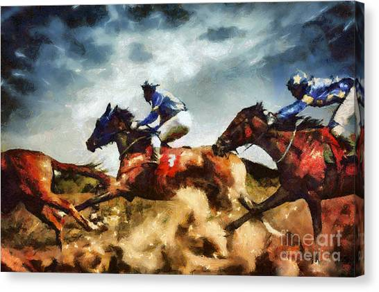 Canvas Print featuring the painting Running Horses Competition Jockeys In Horse Race by Dimitar Hristov