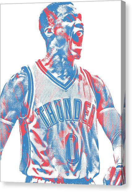 Oklahoma City Thunder Canvas Print - Russell Westbrook Oklahoma City Thunder Pixel Art 31 by Joe Hamilton