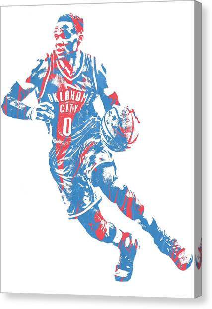 Russell Westbrook Canvas Print - Russell Westbrook Oklahoma City Thunder Pixel Art 32 by Joe Hamilton