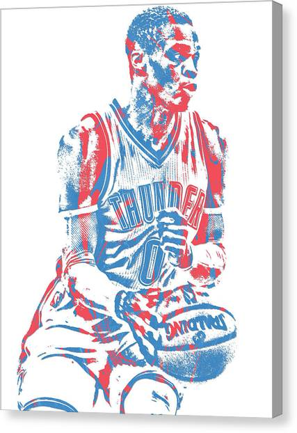 Oklahoma City Thunder Canvas Print - Russell Westbrook Oklahoma City Thunder Pixel Art 34 by Joe Hamilton