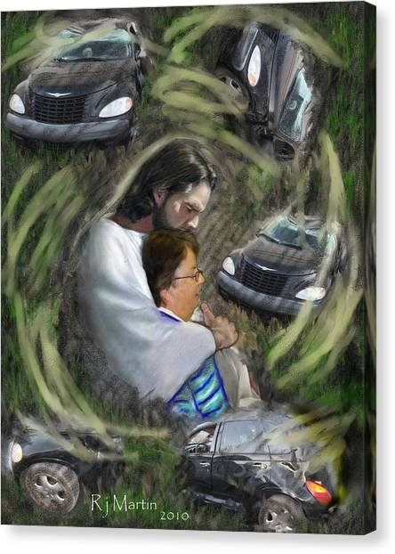 Safe In Jesus Arms Canvas Print