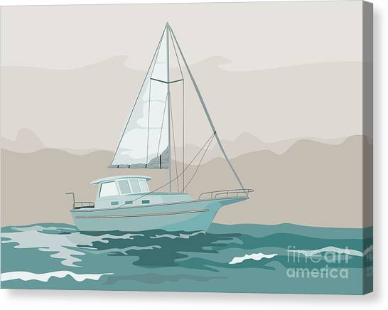 Sailing Canvas Print - Sailboat Retro by Aloysius Patrimonio